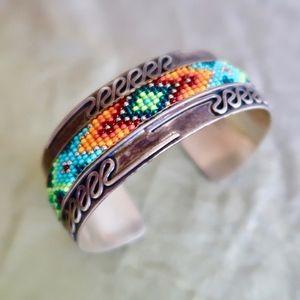 RARE Chipita Joan Eagle Beaded Wide Cuff Bracelet